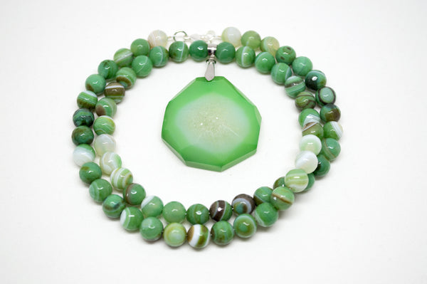 Green Agate with Faceted Green and White Geode