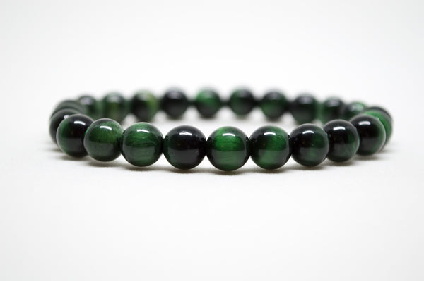 Green Tiger's Eye Infinity Bracelet - 8mm