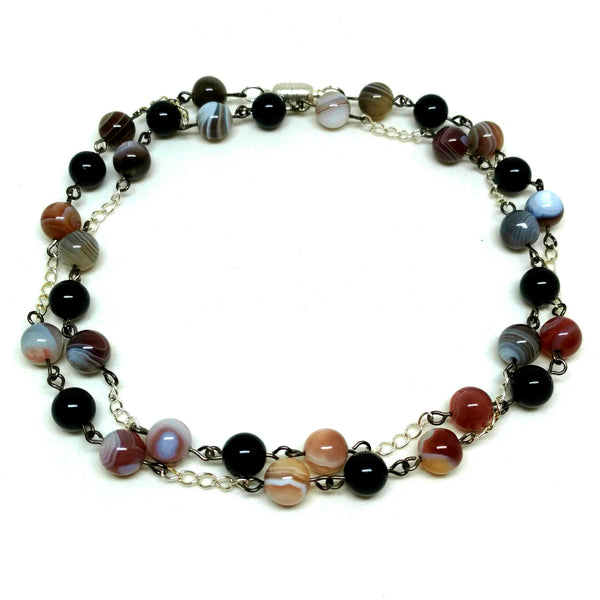 Botswana Agate and Onyx on Silver Chain