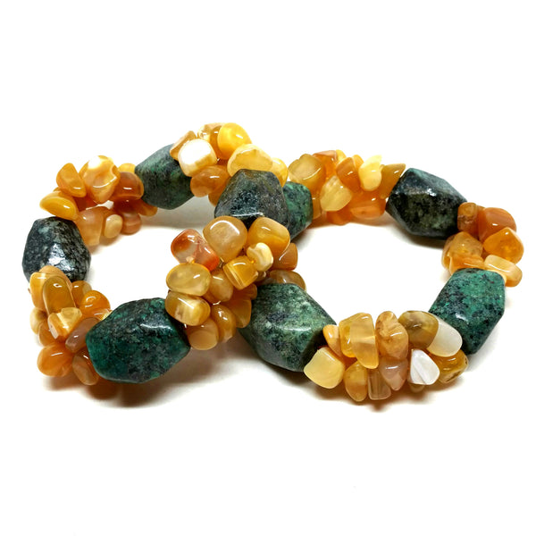 Faceted Emerald with Yellow Agate Pebbles Three Strand Bracelet