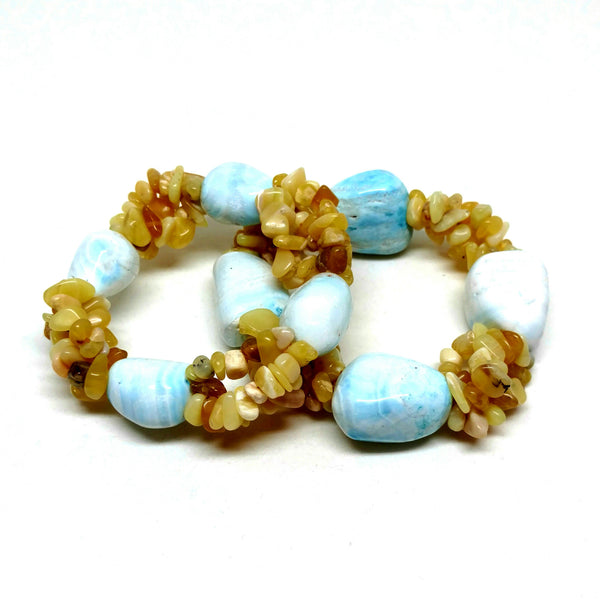 Blue Lace Agate and Yellow Agate Pebble Three Strand Bracelet
