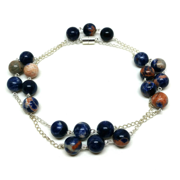 Blue Orange Sodalite with Silver Chain