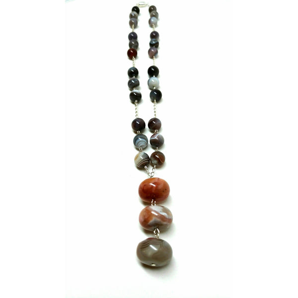 Botswana Agate with Large Roundelle Pendants