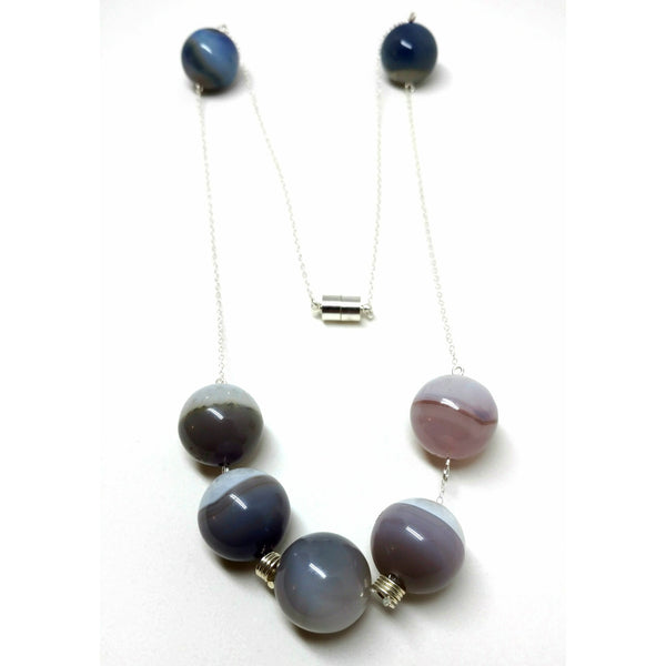 Large Agate Beads with Sterling Chain