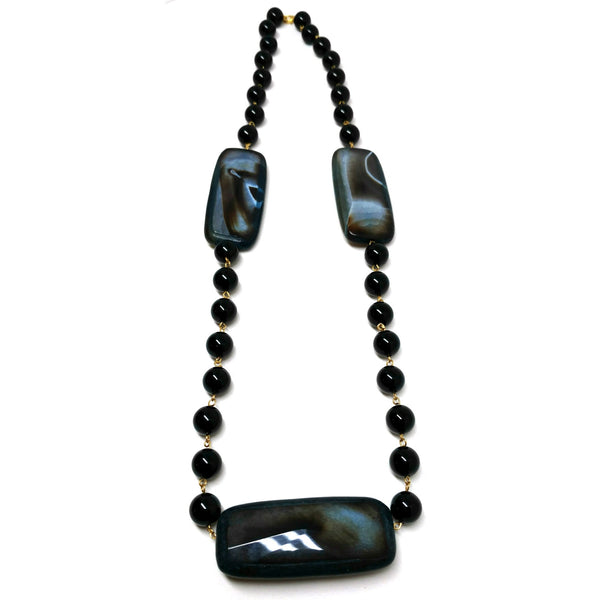Black Onyx with Blue Black Agate Necklace
