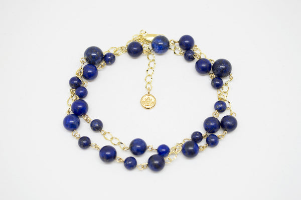 Lapis Lazuli Necklace with Gold Chain and Lotus Charm