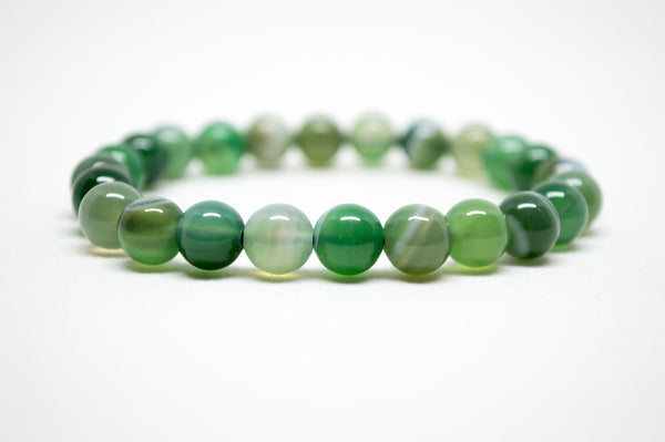 Bright Green Striped Agate Infinity Bracelet - 8mm