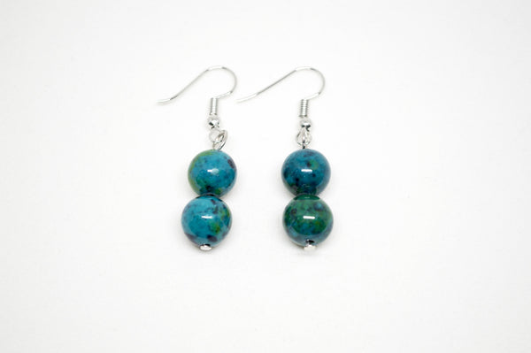 Lapis Lazuli with Chrysocolla Earrings - 10mm