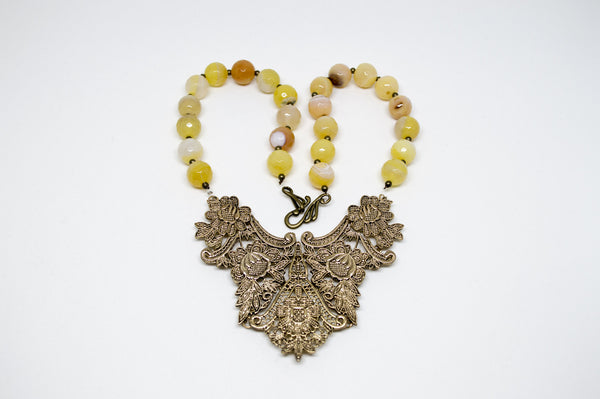 Filigree and Yellow Agate Necklace