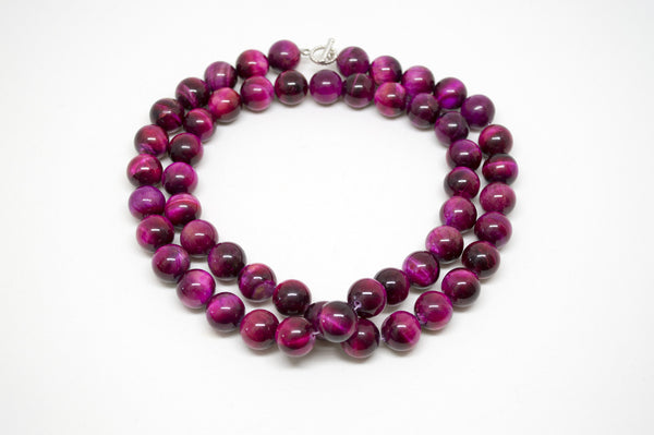 Pink Tiger's Eye Necklace - 12mm