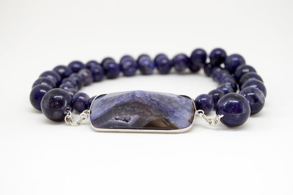 Purple Sugilite Necklace with Geode Pendant