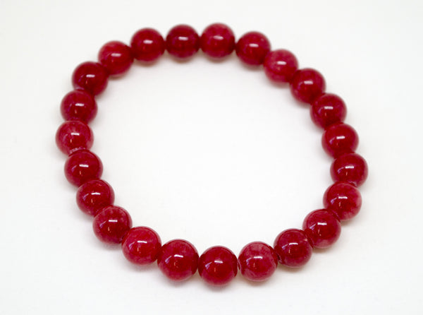 Red Dyed Jade Infinity Bracelet - 8mm