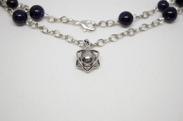 Star of David with Meteorite, Blue Sandstone, and Silver Chain