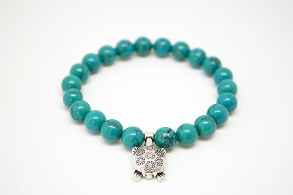 Green Blue Turquoise Howlite Turtle Infinity Bracelet - 8mm