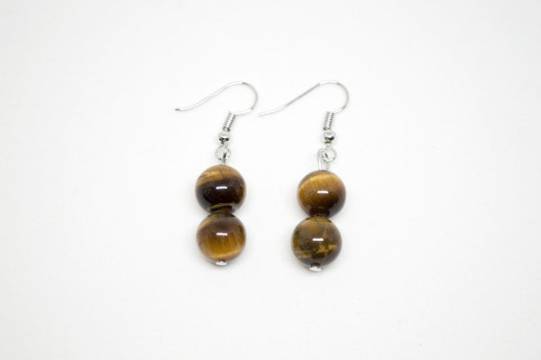 Gold Tiger's Eye Earrings - 8mm
