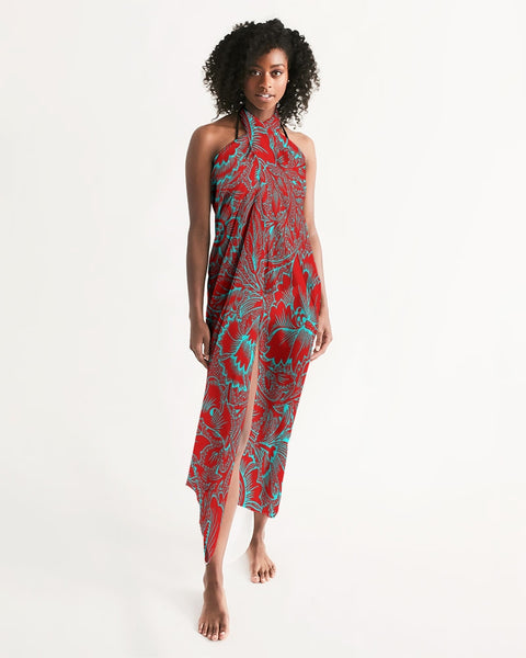 Red Blue Floral Swim Cover Up