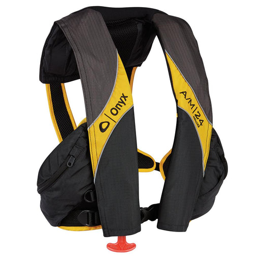 Onyx Outdoor Onyx A-M-24 Deluxe Automatic-Manual Inflatable Life Jacket - Carbon-Yellow [132100-701-004-15] Personal Flotation Devices Desert Wind Sailboats
