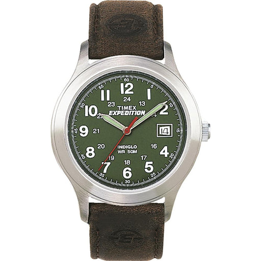 Timex Timex Expedition Metal Field Full-Size Watch - Olive Dial-Brown Leather [T40051JV] Fitness / Athletic Training Desert Wind Sailboats