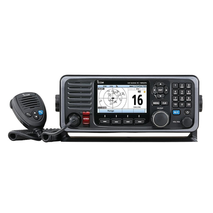 Icom Icom M605 Fixed Mount 25W VHF w-Color Display, AIS & Rear Mic Connector [M605 21] VHF - Fixed Mount Desert Wind Sailboats