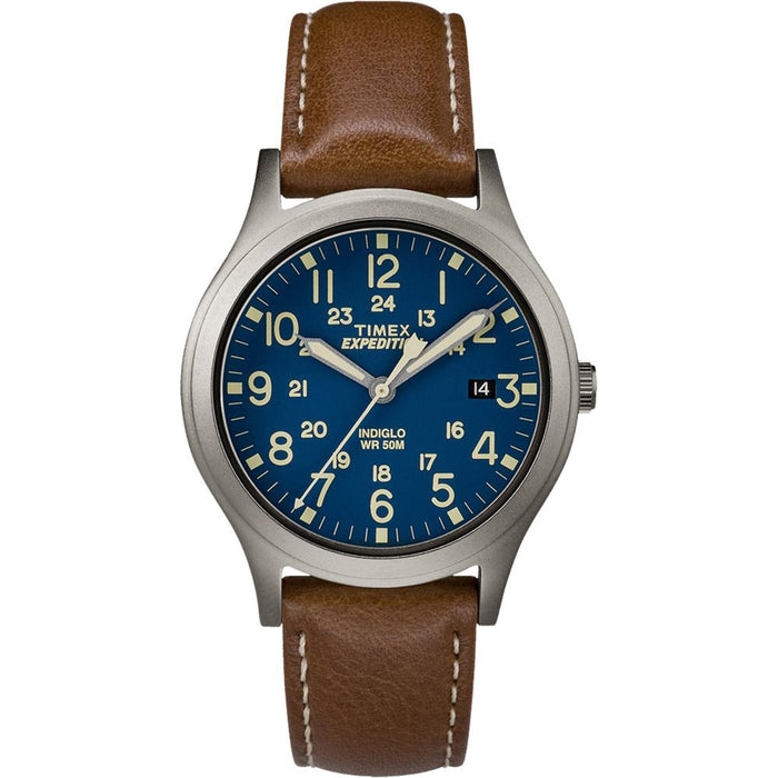 Timex Expedition Mid-Size Leather Watch - Blue Dial [TW4B11100JV]