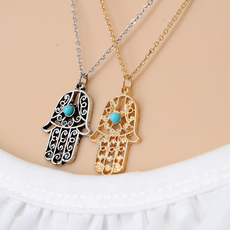 Free long luck hamsa hand pendants necklace dealeaz 1pc womens hamsa hand of fatima choker chain necklace pendant jewelry mozeypictures Image collections