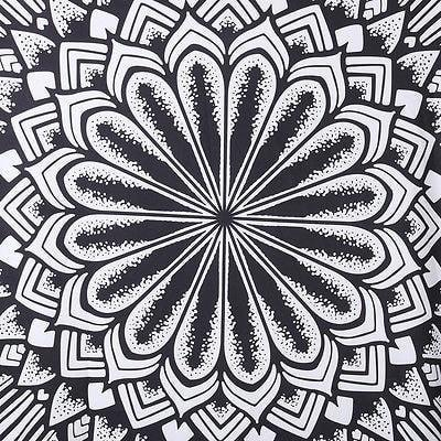 Black & White Geometrical Round Mandala Beach Blanket