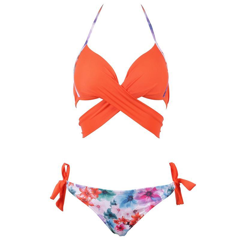 Cross Stripes Bikini Brazilian Set Women