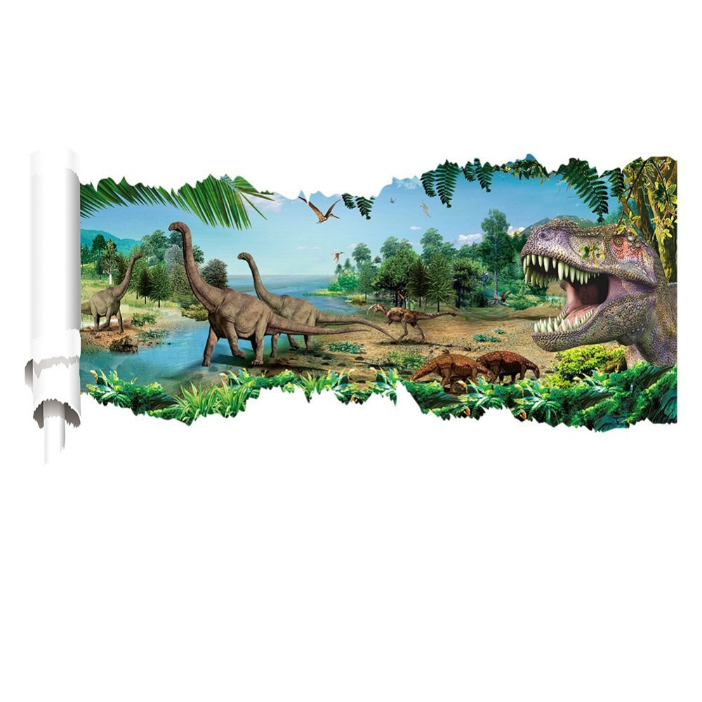 3 Different Jurassic Park Mural Dinosaurs Wall Stickers