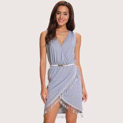 Alexandra - V-neck Elegant Summer Tunic Beach Cover Ups
