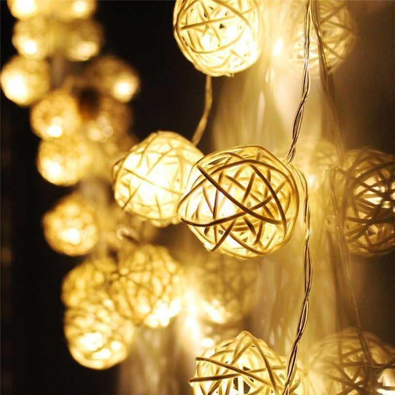 Christmas Warm White 20LED Rattan Ball String Fairy Lights