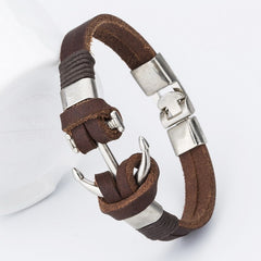 Handmade Leather Hooks Charm Anchor Bracelets