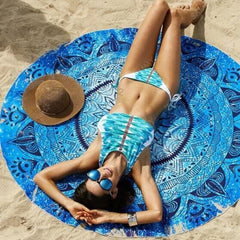 Blue Fashion Bohemian Round Indian Mandal Beach Blanket