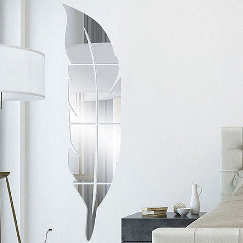 Feather Wall Sticker Acrylic Mirror Effect