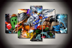 5 Panel Digimon Pokemon Oil Painting Print Picture