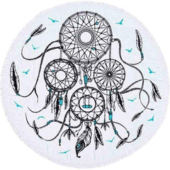 Dreamcatcher Printed Round Beach Blankets With Tassel
