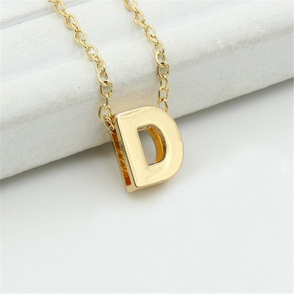 DIY Letter Name Initial Link Chain Metal Alloy Charm Pendant Necklace
