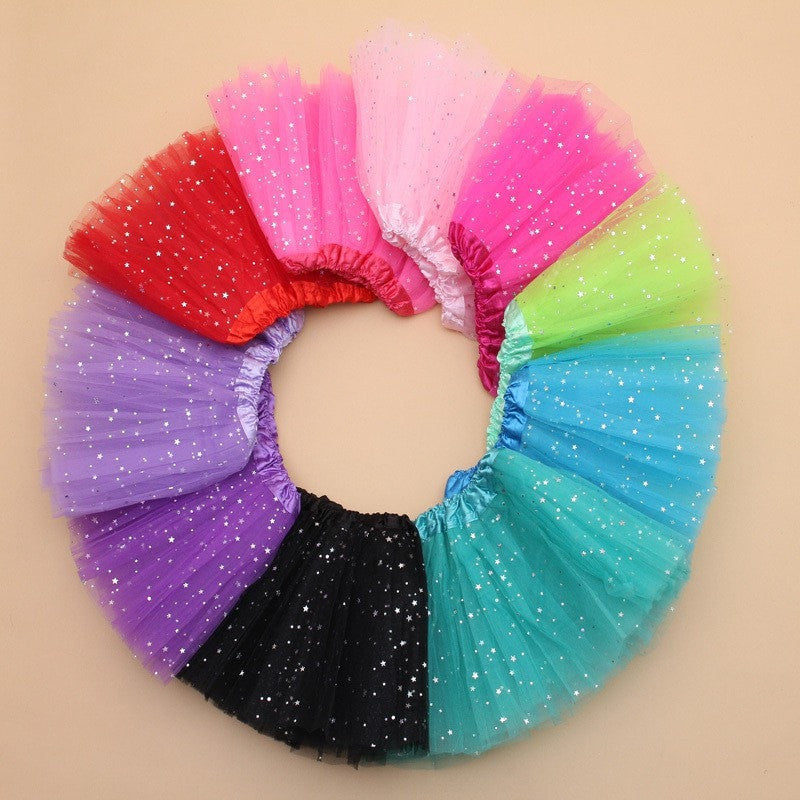 Girl Star Glitter Dance Tutu Skirt With 3 Layers Tulle