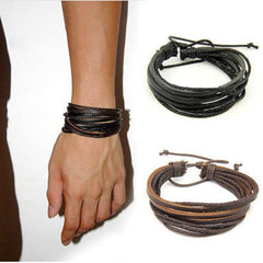 Wrap Leather Braided Rope Wristband 2pcs/lot