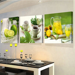 3 Panel Kitchen Decor Print On Canvas