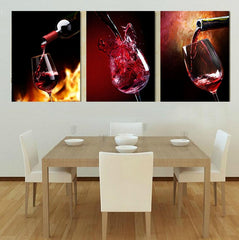 3 Panel Red Wine Cup Bottle Print On Canvas