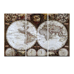 3 Panel Ancient Map Printed Canvas
