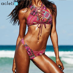 Adriana - Ethnic Patchwork Lacing High Neck Bikini