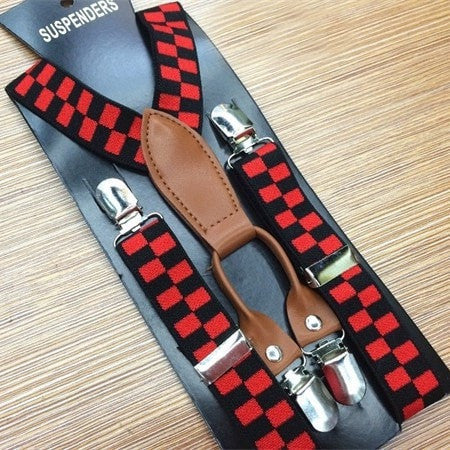 Chess Pattern Suspenders for Boy