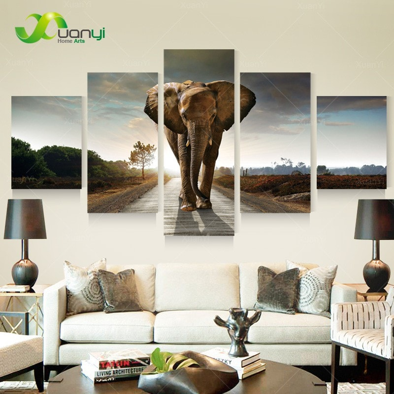 5 Panel Elephant Oil Painting Canvas Prints Unframed