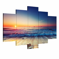 5 Panel Modern Sunset Seascape Printed Picture Canvas Art