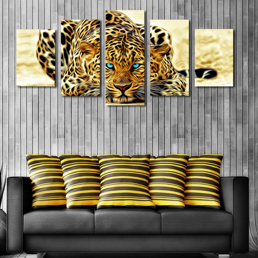 5 Panel Abstract Leopard Wall Art Canvas