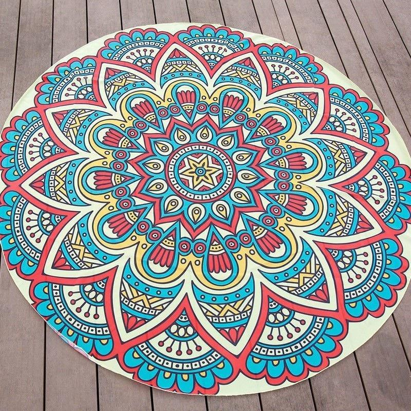 Red/Blue Boho Mandala Gypsy Round Beach Cover Up Pareo