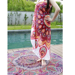 Peach/White Boho Gypsy Round Beach Blanket Cover up Pareo