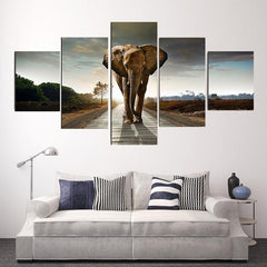 5 Panel Large Printed Elephant Canvas