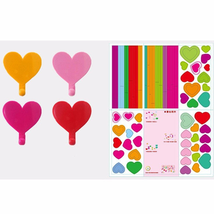 Colorful Love Heart Adhesive Wall Hooks